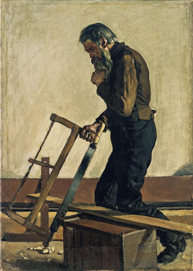 """Ferdinand Hodler, """"L'ouvrier philosophe"""", 1884, huile sur toile, 72,2 x 51,6 cm, Genève, Musée d'art et d'histoire © MAH, Genève"""