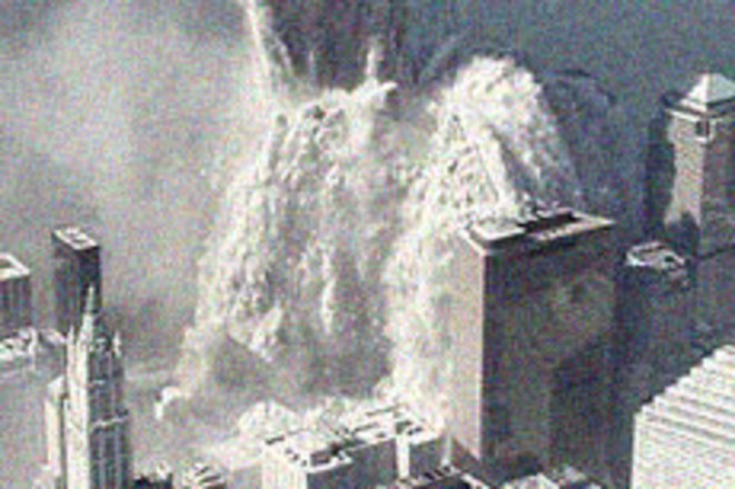911 Twin Tower collapse. NYC police image.