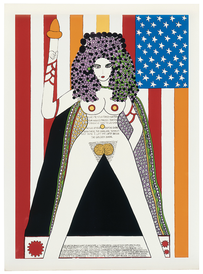 Dorothy Iannone, The Statue Of Liberty 1977 Color silkscreen on paper 83,5 x 60 cm Signed, numbered Edition : 100 Published by Studio Galerie, Mike Steiner, Berlin. © Photo DR; Courtesy de l'artiste et de la Galerie Air de Paris, Paris.