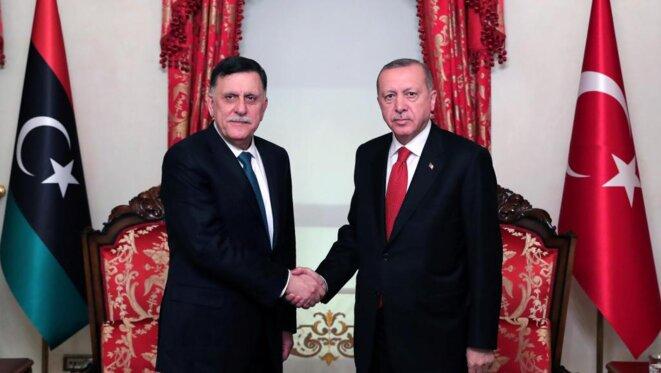 Tayyip Erdogan avec Fayez Al Sarraj