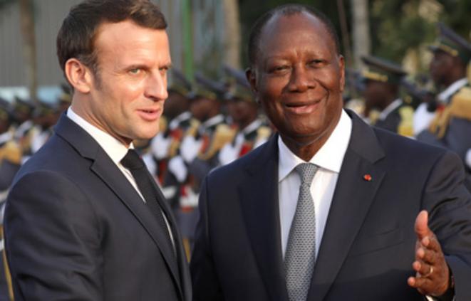 Emmanuel Macron et Alassane Ouattara à Abidjan le 21 décembre 2019