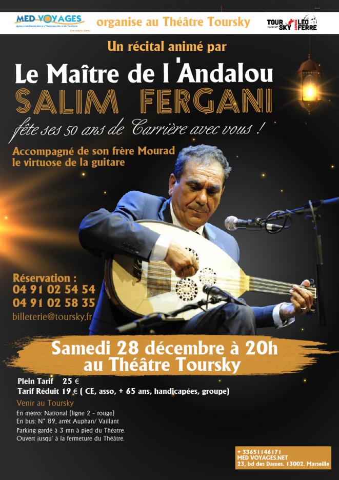Le Maître de l'Andalou Salim Fergani fête ses Cinquante ans de carrière avec vous ! © Affiche de l'événement