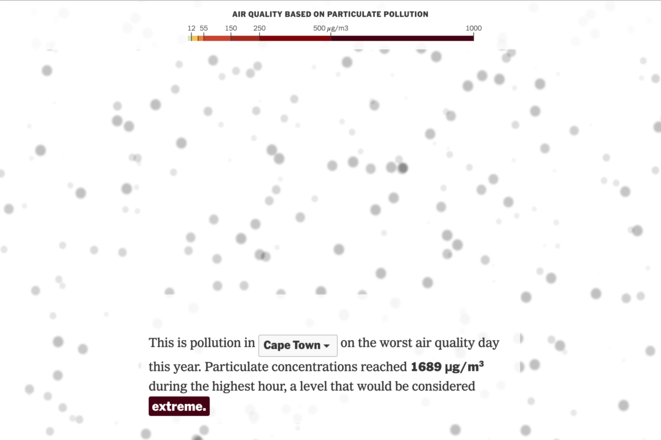 """The floating particles depict microscopic particulate pollution called PM2.5. The number of particles you see here represents the upper limit for """"good"""" air quality, as defined by the United States Environmental Protection Agency: 12 micrograms per cubic meter over 24 hours. © New York Times"""