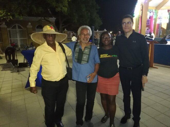 La Délégation guyanaise : R. Charlotte, M. Pindard, S Fabien, P Carpentier. Town Square. Bonaire. 06.12.2019