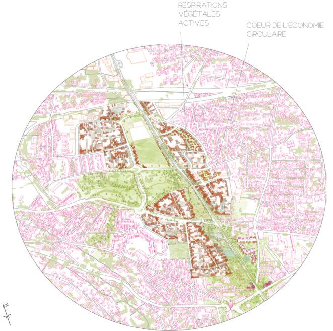 En ayant recours à la densification des zones artisanales 120 000m² peuvent être construit sans s'étaler sur la friche. © fair
