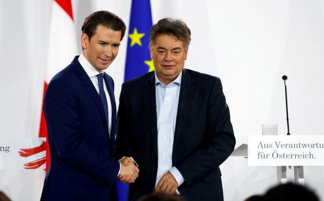 Sebastian Kurz (ÖVP) et Werner Kogler (Verts) lors de la signature de l'accord de coalition, le 1er janvier 2020, à Vienne. © Reuters