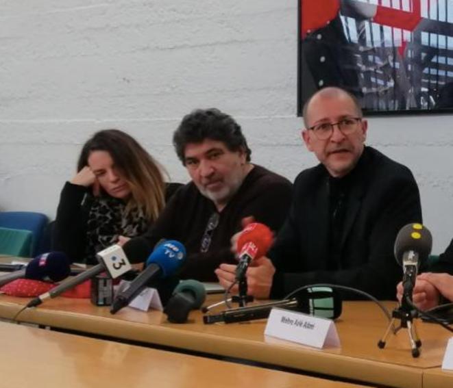 Christian Chouviat (au centre), conférence de presse, 7 janvier 2020. © DR