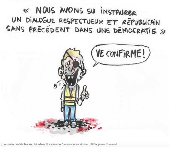 La citation est de Macron lui-même ! Le sens de l'humour lui va si bien © Benjamin Rouzaud