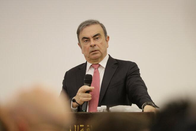 Carlos Ghosn, lors de sa conférence de presse du 8 janvier. © AFP