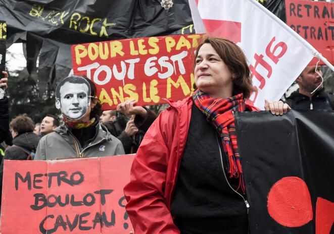 Dans le cortège parisien contre la réforme des retraites, le 9 janvier 2020. © AFP