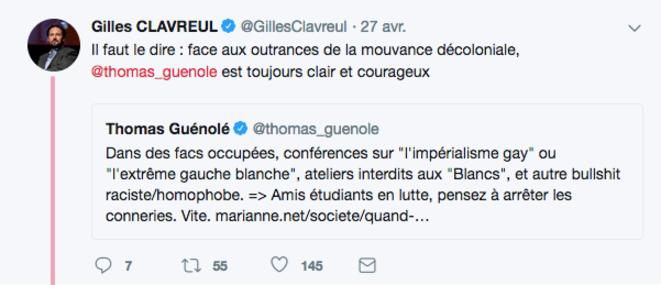 """Thomas Guénolé """"toujours clair et courageux"""" selon Gilles Clavreul. Capture d'écran Twitter."""