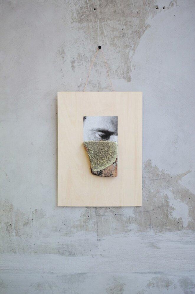 """Icaro Lira, """"Sans titre"""", 2019 bois, terre cuite, mousse, photographie 42 x 22,5 cm,  pièce unique © Icaro Lira, courtesy de la galerie Salle principale, Paris."""