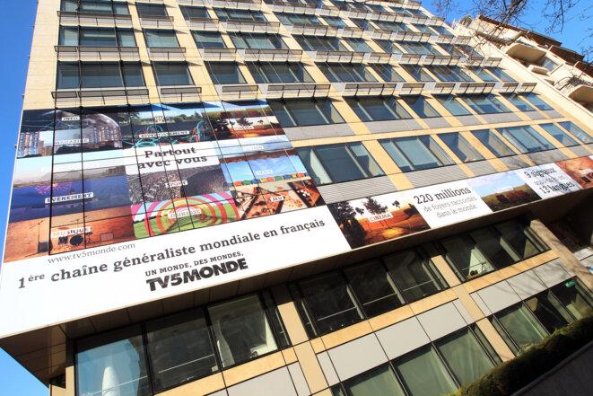Le siège de TV5Monde, avenue de Wagram à Paris, en 2012. © Pierre Verdy / AFP