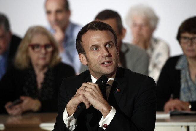 Emmanuel Macron à la Convention citoyenne pour le climat, le 10 janvier 2019 © AFP