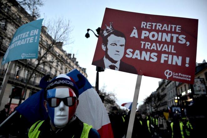 Lors de la manifestation contre la réforme des retraites, le 11 jnavier 2019. © Lionel Bonaventure / AFP