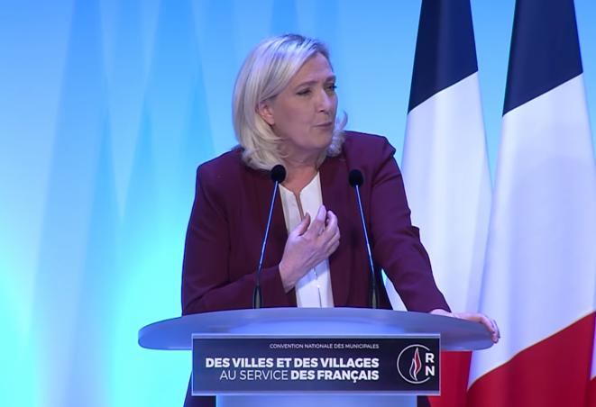 Marine Le Pen à la Convention du RN pour les municipales ce dimanche. © Capture d'écran