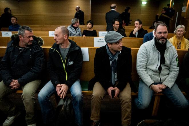 Les victimes au procès de Bernard Preynat, le 13 janvier. © Nicolas Liponne / Hans Lucas