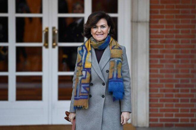 Carmen Calvo, vice-Présidente du gouvernement et Ministre de la Mémoire démocratique et des Relations avec le parlement © Pierre-Philippe Marcou, AFP
