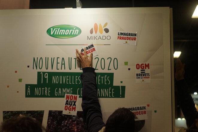 Le stand du semencier Vilmorin interpellé au salon du Sival, à Angers, le 14 janvier 2020. © Amélie Poinssot