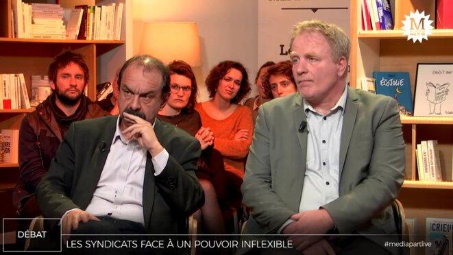 Philippe Martinez et François Hommeril © Mediapart