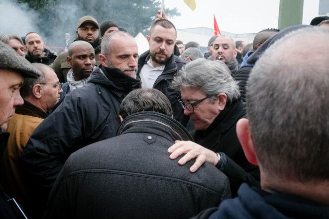 Jean-Luc Mélenchon à un rassemblement le 13 janvier. © Nicolas Portnoi / Hans Lucas