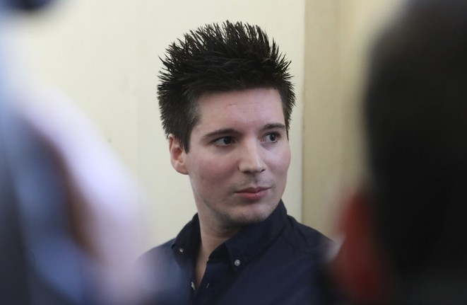 Football Leaks whistleblower Rui Pinto, seen here attending a court hearing in Budapest on March 5th 2019 over Portugal's demand for his extradition from Hungary. © AFP