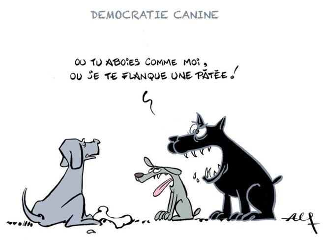 «La tolérance, c'est pas fait pour les chiens.» © Alain Faillat (Alf) — avec l'aimable autorisation de l'auteur.