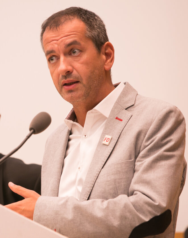 Pascal Pavageau, secrétaire général de Force ouvrière d'avril à octobre 2018 (photo de 2017) © «Frédéric Blanc»/Wikimedia Commons, licence CC-BY-SA int. 4.0