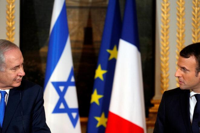 Benjamin Netanyahou et Emmanuel Macron. © Reuters