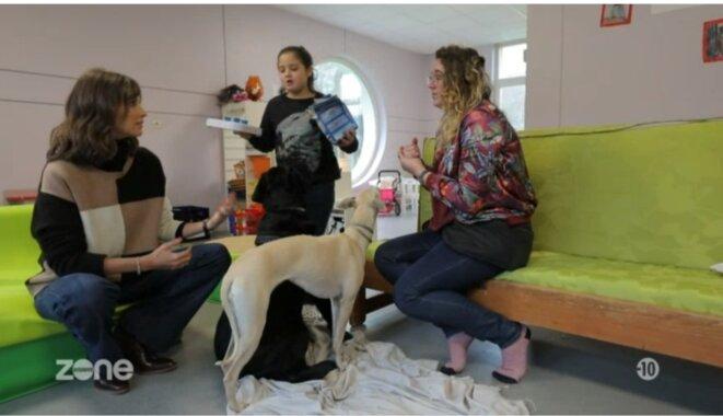 Ophélie Meunier avec Leslie et une psychologue en médiation animale, Elsa Senellier