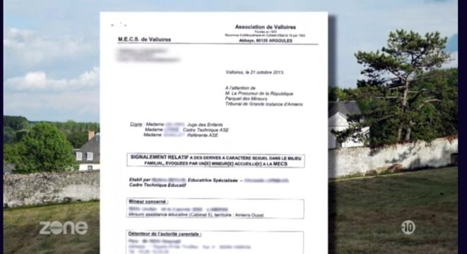 Document confidentiel anonymé montré à l'écran : signalement (au procureur, avec copie au juge des enfants et à l'ASE) d'un mineur ayant commis des abus sexuels dans un foyer et maintenu de longues années dans le même établissement