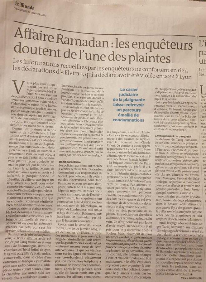 ARTICLE DU MONDE SUR TARIQ RAMADAN © LE MONDE