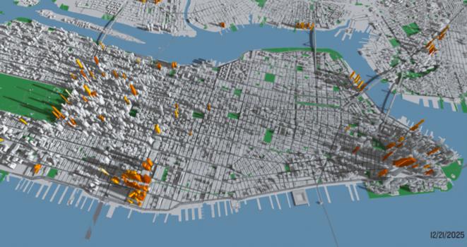 Projection de l'ombre portée des tours actuelles de Manhattan, et des projets planifiés ou en construction, au 21 décembre 2025. © Municipal Art Society de New York