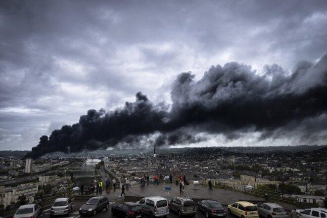 Incendie de Lubrizol, le 26 septembre 2019. © Le Poulpe