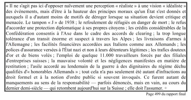 """Extrait du rapport Bergier tiré du """"Rapport Bergier à l'usage des élèves""""."""