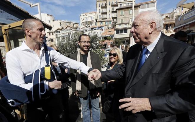 Frédérick Bousquet (à gauche) avec Jean-Claude Gaudin, le 16 mars 2014. © Reuters