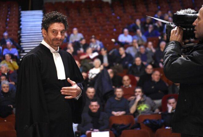 Fiodor Rilov, avocat des anciens salariés de Goodyear, au Mégacité d'Amiens, mardi 28 janvier. © François Lo Presti / AFP