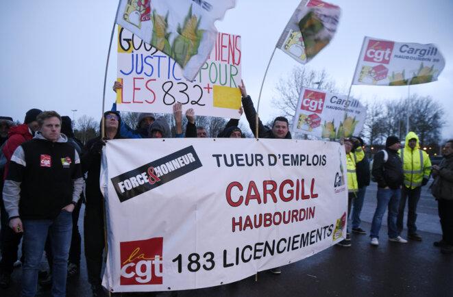 Des salariés de Cargill à Amiens, le 28 janvier. © François Lo Presti / AFP