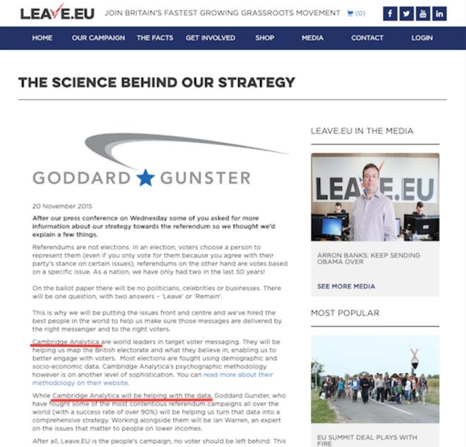 Le communiqué de presse supprimé du site officiel de Leave.EU. © Capture d'écran