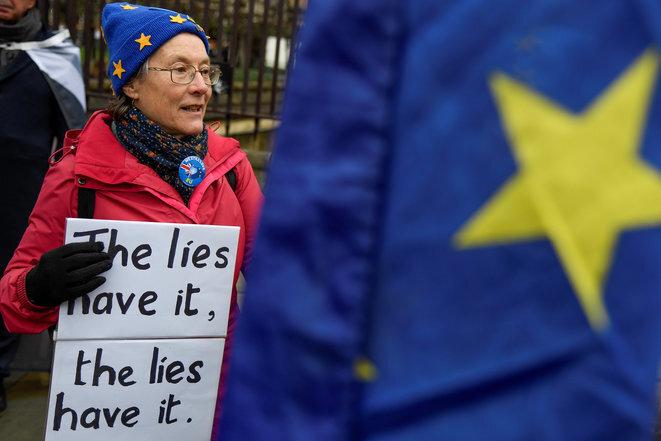 Una oponente de Brexit el 17 de diciembre de 2019 en Londres. © Reuters/Toby Melville.