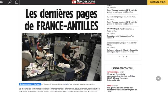 © Capture d'écran - franceantilles.com