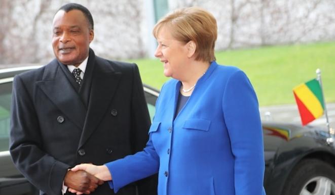 Denis Sassou N'Guesso chez Angela Merkel à Berlin 19 janvier 2020