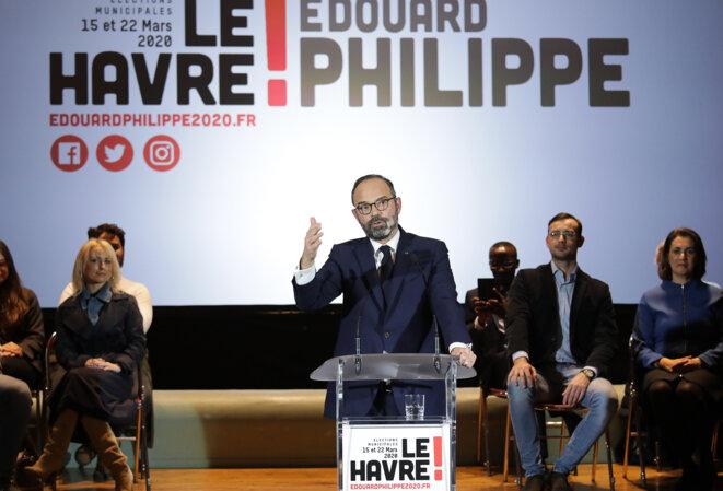 Le premier ministre a lancé sa campagne au Havre, vendredi 31 janvier, comme tête de liste. © AFP
