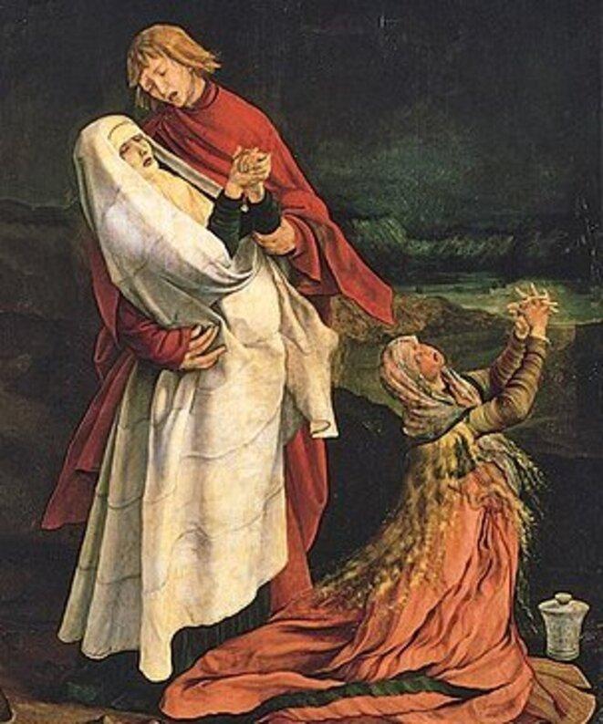 """Matthias Grünewald, """"Crucifixion"""" (détail), retable d'Issenheim (1512-1516), Colmar, musée Unterlinden."""