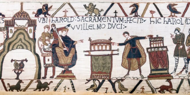 Tapisserie de Bayeux, décrivant les faits allant de la fin du règne d'Edouard le Confesseur (1064) à la bataille d'Hastings (1066)