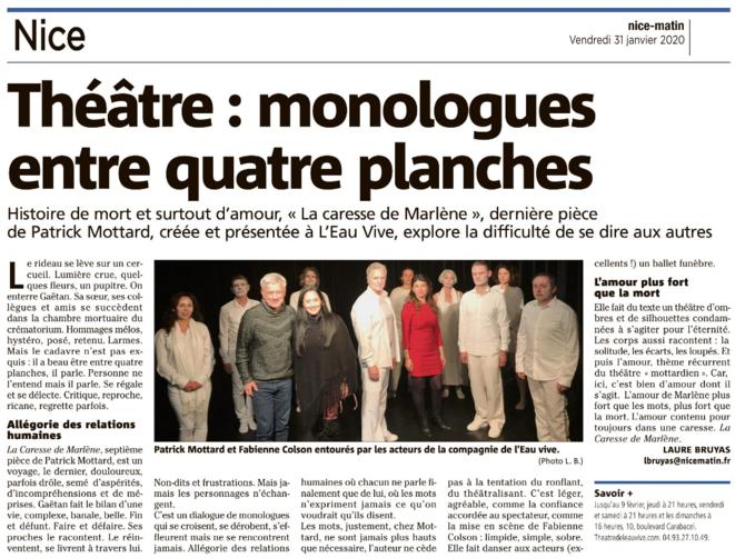 """Article de Laure BRUYAS sur """"La caresse de Marlène"""" dans Nice-Matin le 31 janvier 2020 © Laure BRUYAS"""