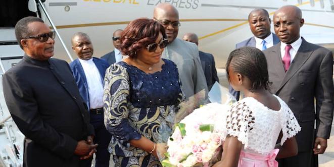Denis Sassou N'Guesso accueille le couple Tshisekedi à Ollombo