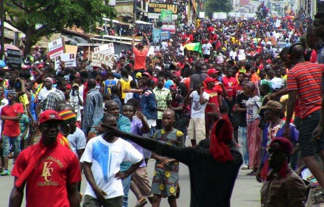 Manifestation le jeudi 24 octobre 2019 à Conakry contre le projet d'Alpha Condé de se présenter pour un troisième mandat. La précédente manifestation du 14 octobre s'était soldée par un bilan de 14 morts