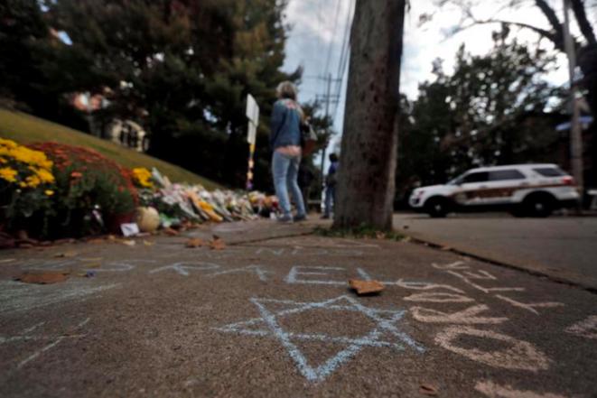 Memorial a las víctimas del ataque antisemita a una sinagoga en Pittsburgh, Pennsylvania, en octubre de 2018. © Reuters