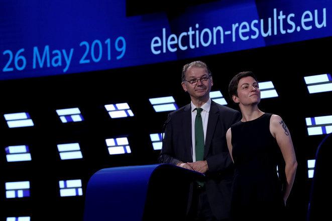 El belga Philippe Lamberts y la alemán Ska Keller en el Parlamento Europeo en Bruselas el 26 de mayo de 2019. © Reuters/Yves Herman